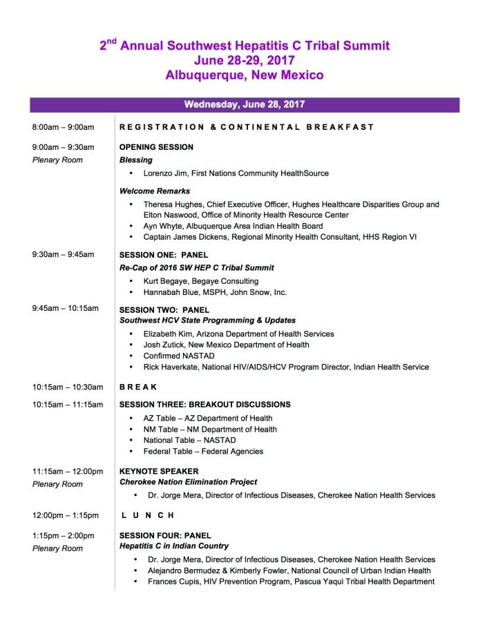 2017 SW Hep C Draft Agenda Pg 1